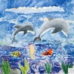 Симхаева Александра, 7 лет «Любимые дельфины» Студия «ВДОХНОВЕНИЕ», преп. Ланге Н.Я.