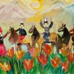 """Куанычбек Кызы Канышай, 12 лет, """"Солнце в горах"""", гуашь, ДХШ г. Бишкек, пед. Овчинникова Н.И."""