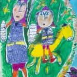 Бибилова Алана, 6 лет, «Нарты Ахсар и Ахсартаг собираются в поход», фломастеры, мелки, РСО – Алания, с. Октябрьское, пед. Цахилова М.Т.