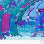 Огурцова Вероника, 13 лет, 2 класс, «Храбрые охотники» по мотивам хантыйской сказки, тон. бумага, гуашь, МБОУ ДОД ДХШ ДПИ г. Сургут, преп. Бирюкова Е.Н.