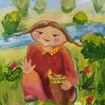 Метелева Ульяна, 11 лет, «Радостная находка», гуашь, МБОУ ДОД «Уренгойская ДХШ», пгт. Уренгой, преп. Беляева Я.А.