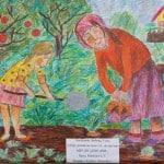 Гречухина Любовь, 9 лет, «Сбор урожая на даче», цв. карандаши,  МБУ ДО «ДХШ ДПИ», г. Сургут, Тюменская область, преп. Мамонов Е.В.