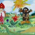 """Брысякина Катя, 8 лет, """"Аленький цветочек"""", гуашь, преп. Богомолова О.В."""