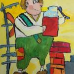 Савельев Данил, 9 лет, Иллюстрация к сказкам народов мира. «Карлсон, который живёт на крыше», фломастеры, МБОУ ДОД г. Новосибирска «ДХШ № 2», пед. Громыко О.Ю.