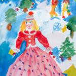 """Самойлова Виолетта, 5 лет, """"Моя мама -Снегурочка"""", гуашь, преп. Богомолова О.В."""