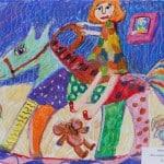 Зайцева Алина, 7 лет, «На лошадке-качалке», гуашь, мелки, ЦЭР «Ступени», г. Орехово-Зуево Московской области, пед. Пучина А.М.